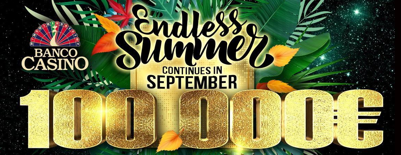 Leto v Banco Casino nikdy neskončí a počas septembra rozdáme 100,000€!
